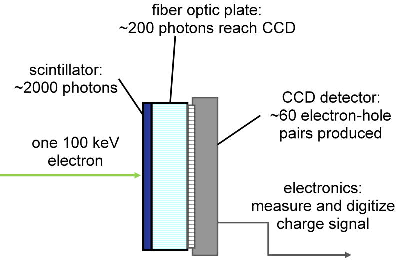 Schematic of detector stack in an EELS system.